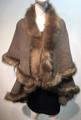 Elegant Women's - Faux Fur  Poncho Cape Taupe # P202-7