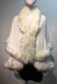 Elegant Women's - Faux Fur  Poncho Cape White # P202-8