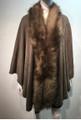 Elegant Women's - Faux Fur  Poncho Cape Taupe # P203-5