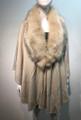 Elegant Women's - Faux Fur  Poncho Cape Beige # P204-1