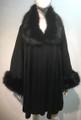 Elegant Women's - Faux Fur  Poncho Cape Black # P206-2