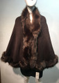 Elegant Women's - Faux Fur  Poncho Cape Coffee # P207-3