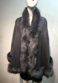 Elegant Women's - Faux Fur  Poncho Cape Gray # P207-4