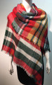 Women's Stylish shawl  Scarf  Red / teal # P171-1029