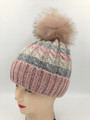 New! Multi Colored Knit Cable Hat with Fur Ball Assorted Dozen #H1229