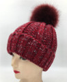 New! Two-tone Knit  Hats with Fur Ball Assorted Dozen #H1205