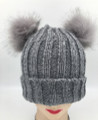 New!  Knit Beanie Hats with Faux Fur Pom Pom Ears  Assorted Dozen #H1202