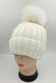 Unisex Beanie Hats with Fur Ball White #H1179
