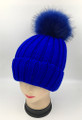 Unisex Beanie Hats with Fur Ball Royal Blue #H1179
