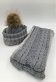 New! Knit Cable Hats with Fur Ball  infinity scarf sets Assorted Dozen #HS1199
