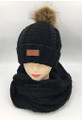 New! Knit Cable Hats with Fur Ball  infinity scarf sets Black #HS1199