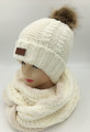 New! Knit Cable Hats with Fur Ball  infinity scarf sets Whitre #HS1199