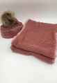 New!  Knit Hats with Fur Ball infinity scarf sets Assorted dozen #HS1227