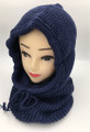 New! Soft Knit Pullover Hood Infinity Scarf Navy # 1568
