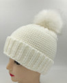 New! Unisex Beanie Hats with Faux Fur  Ball White #H1144