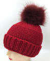 New! Unisex Beanie Hats with Faux Fur  Ball Red #H1144