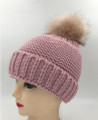 New! Unisex Beanie Hats with Faux Fur  Ball Pink#H1144