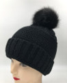 New! Unisex Beanie Hats with Faux Fur  Ball Black #H1144