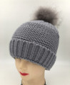 New! Unisex Beanie Hats with Faux Fur  Ball Gray #H1144