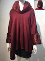 Elegant Women's - Faux Fur  Poncho Hooded Cape Burgundy # PH215-1