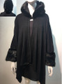 Elegant Women's - Faux Fur  Poncho Hooded Cape Black # PH215-4