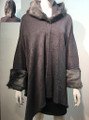 Elegant Women's - Faux Fur  Poncho Hooded Cape Gray # PH215-2