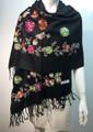 Flower Pattern Embroidered Scarf  Black #122-1