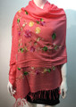 Flower Pattern Embroidered Scarf  Peach #122-3