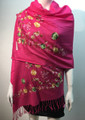 Flower Pattern Embroidered Scarf  Hot pink #122-4