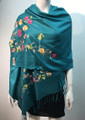 Flower Pattern Embroidered Scarf Teal #122-5