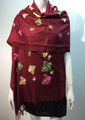 Butterfly  Embroidered Scarf Burgundy #131-6