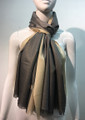 Two-Tone metallic shawl scarf  Gray / Beige # 133-2