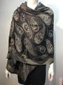 New!   Metallic Paisley Pashmina  Black Dozen #P152-1
