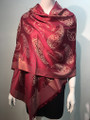 New!   Metallic Pashmina with Paisley Burgundy Dozen #P152-2