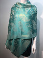New!   Metallic Pashmina with Paisley aqua Dozen #P152-3
