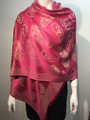 New!   Metallic Pashmina with Paisley Hot Pink Dozen #P152-5
