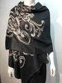 New!   Metallic Pashmina with Flower Black Dozen #P151-1