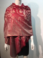 New!   Metallic Pashmina with Flower Burgundy Dozen #P151-4
