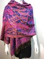 New!  Multicolor Paisley Pashmina  Royal Blue / Hot Pink Dozen #163-5