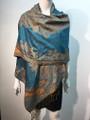New!   Paisley Pashmina  Turquoise Dozen #P161-1