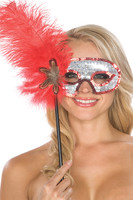 Red Feather and Silver Sequin Mask with Wand