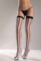 White and Black Vertical Striped Thigh Highs