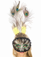Brown, Green and Yellow Peacock Feather Mask