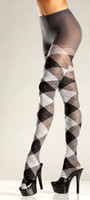 Argyle Pantyhose in Grey/Black