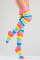 Neon Rainbow Striped Thigh Highs