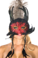 Red and Black Feather Mask