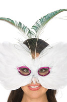 White Feathers and Hot Pink Sequins Mask