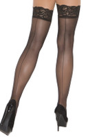 Lace Top Back Seam Thigh High Stockings