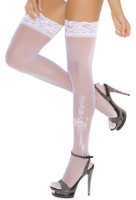 Lace Top Thigh Highs with Applique