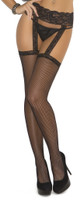Fishnet Thigh Highs with Lace Garter Belt